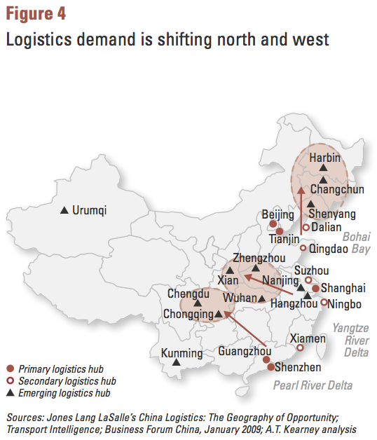 Figure 4 Logistics demand is shifting north and west