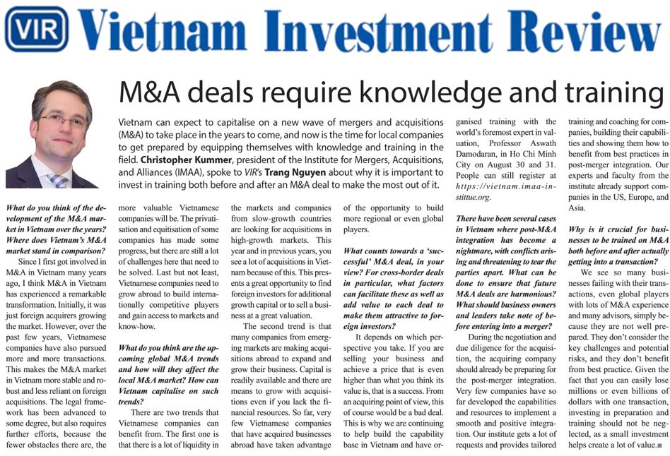 M&A deals require knowledge and training